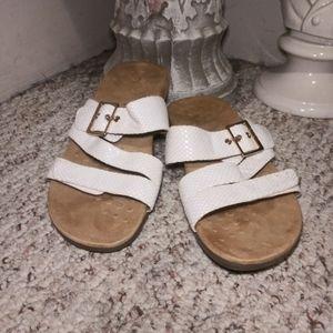 Like New Vionic Skylar White Snake Slide Sandals